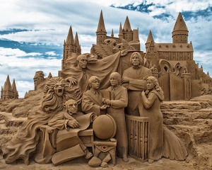 Harry Potter inspired sandcastle, just in case you get bored at the beach.