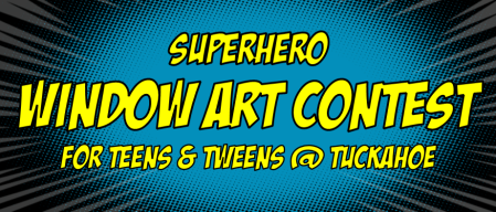 superhero window art contest at TU